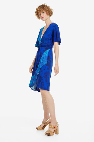 Blauwe jurk met ruches Fedra
