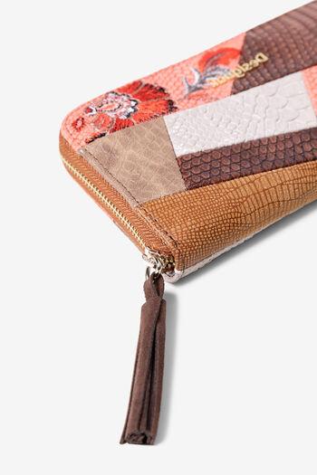 Boho-portemonnee met gebloemde patch en imitatie pythonleer | Desigual