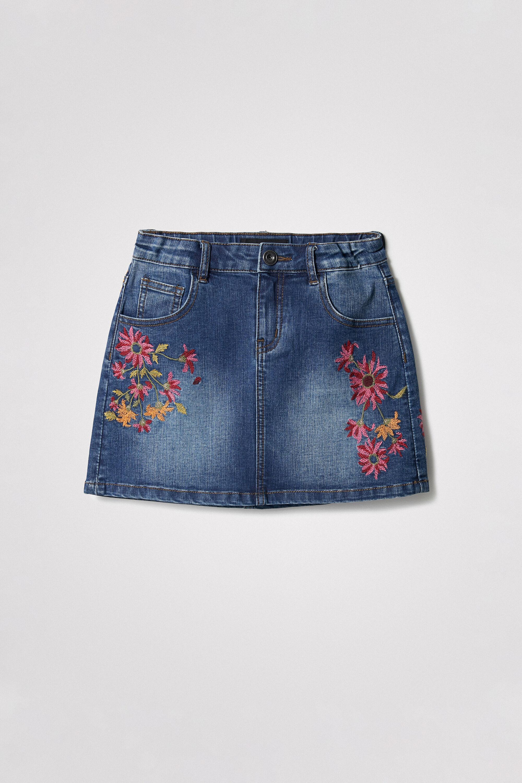 Short denim skirt flowers - BLUE - 5/6