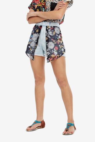 Shorts denim amb faldó floral Platea