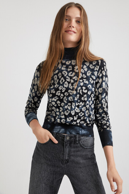 Pull maille animal print