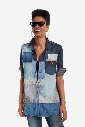 Longline denim patchwork shirt