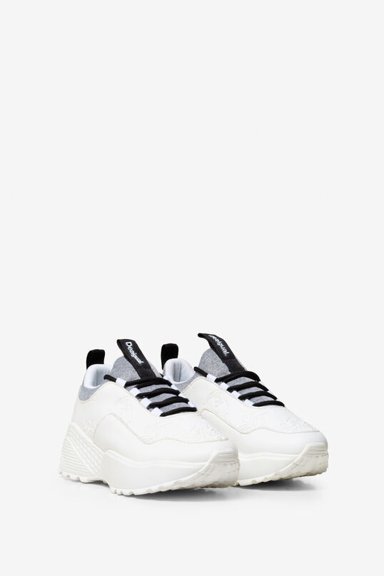 Embossed White Trainers Chunky   Desigual