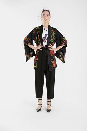 Kimono mit Jacquard und Blumen