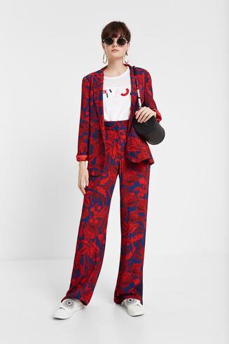 Burgundy floral blazer