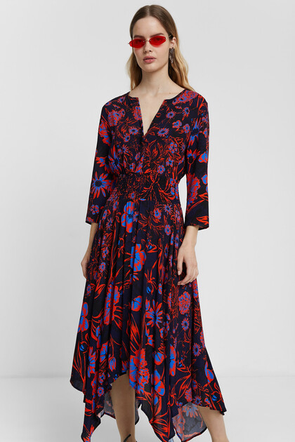Boho midi dress with floral print