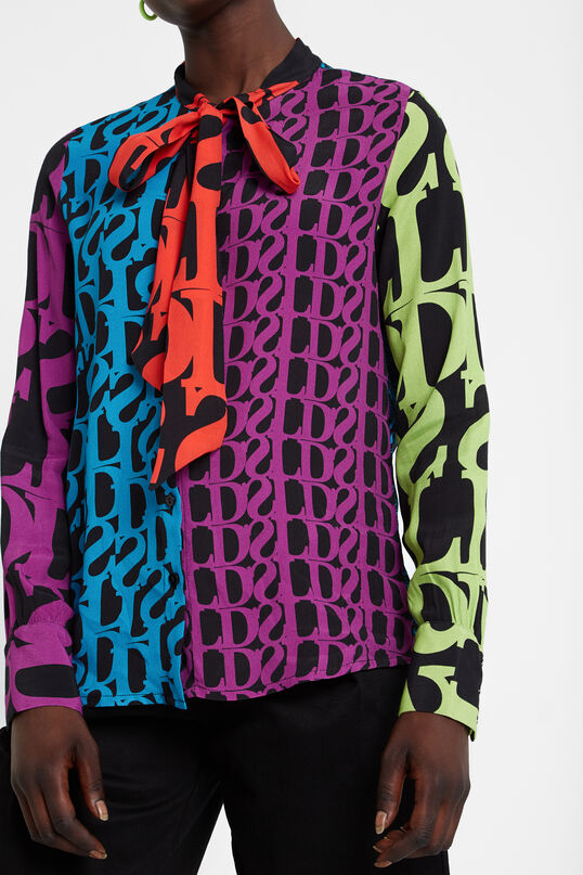 Blouse met strik en logomania Designed by M. Christian Lacroix | Desigual