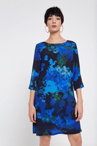 Rechte jurk met gebloemde camouflage