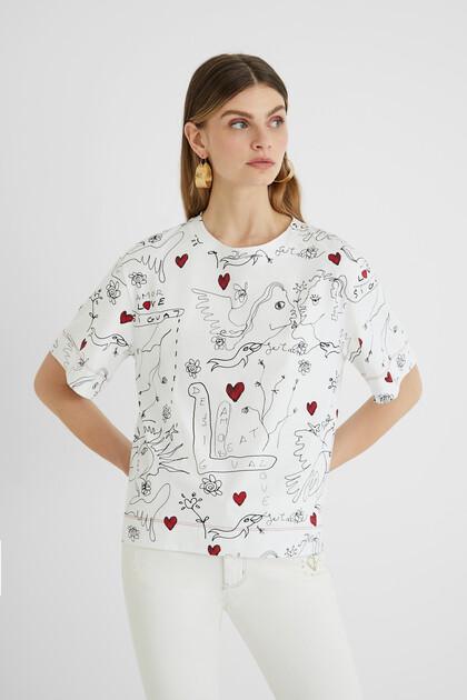 """T-shirt desenho em estilo """"bolimanía"""""""