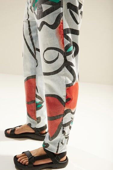 Uniseks straight fit jeans met 'El beso'-print | Desigual