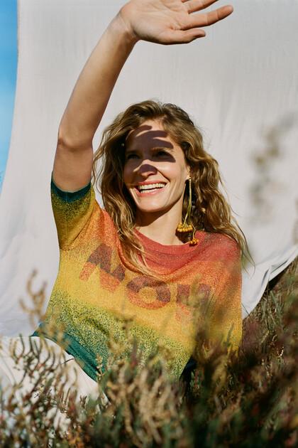 Knit jumper metallic colours