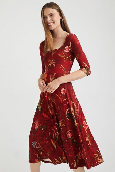 Wijd uitlopende jurk met diepe hals | Desigual