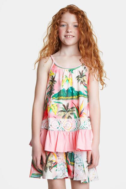 T-shirt tropical détails en dentelle