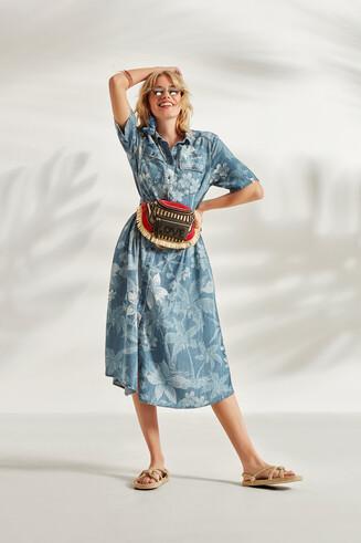 Vestito chemisier con camouflage floreale