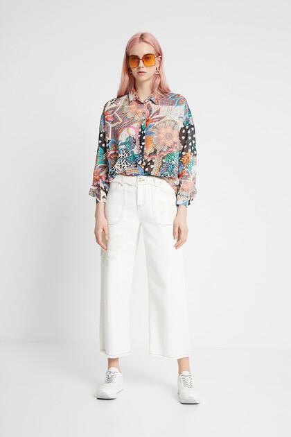 Camisa boho floral bollada
