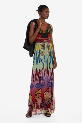 b97a753164 Long V-neck Dress Clavelitos