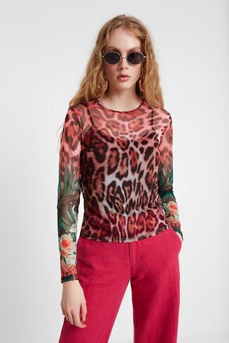 T-shirt à imprimé léopard
