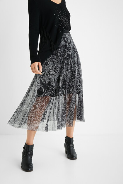 Pleated midiskirt