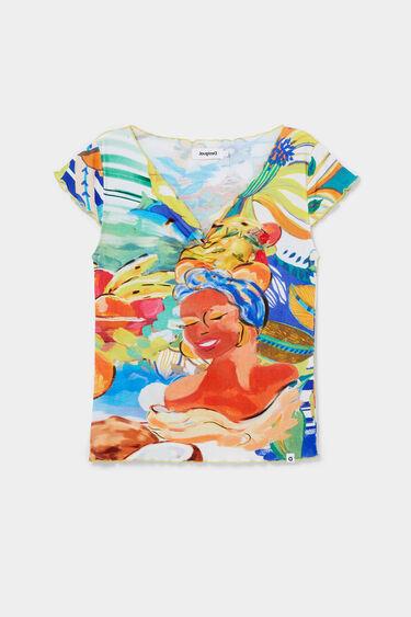 T-shirt slim canelado fino | Desigual