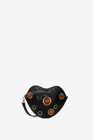 Embroidered heart bag and studs