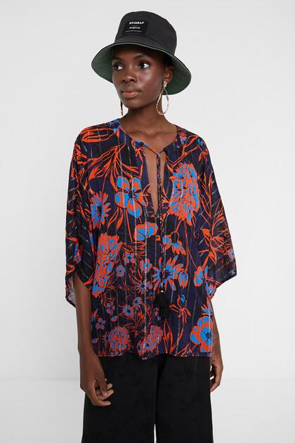 Gebloemde blouse met vleermuismouwen