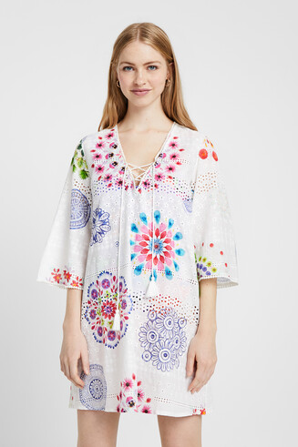 Dress English embroidery and mandalas