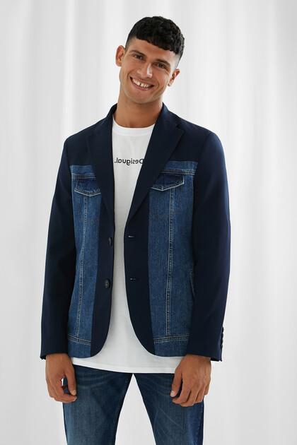 Blazer in jeans doppio materiale
