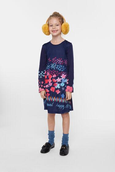 Cotton dress 3D flowers | Desigual
