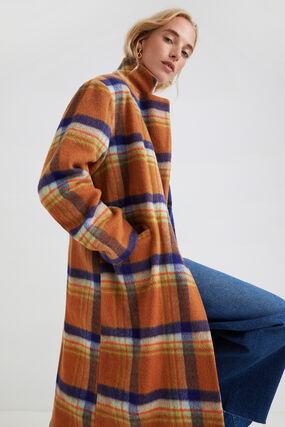 Long loose coat tartan