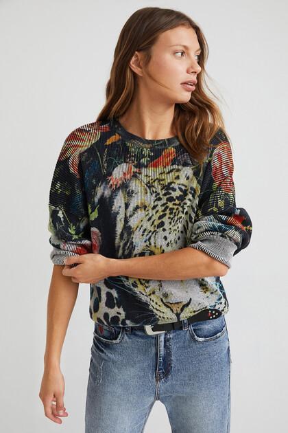 Knit jumper animal print flowers