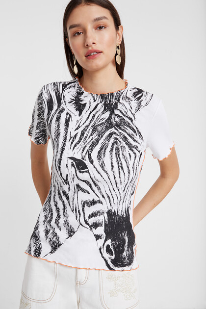 Ribbed zebra print T-shirt