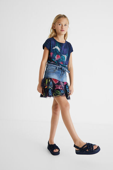 Denim mini-skirt flounces | Desigual