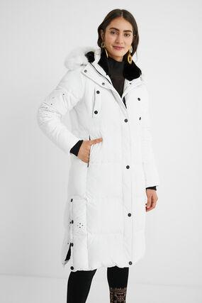 Long padded straight coat mandalas