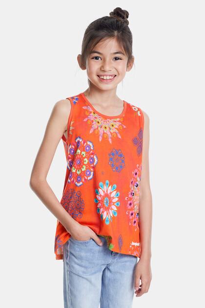 T-Shirt mit blumigen Mandalas