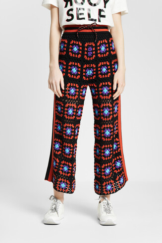 Multicolour knit palazzo trousers