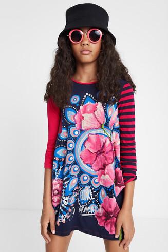 Baggy jurk met strepen en print