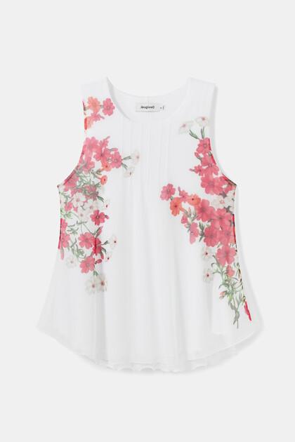 Sleeveless T-shirt tulle flowers