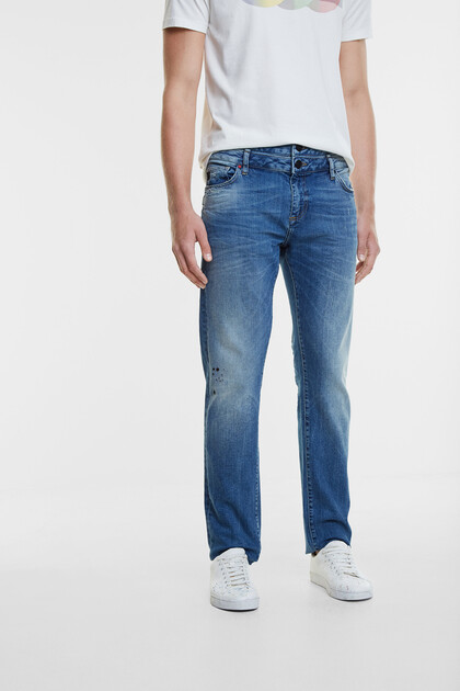 Jeans met dubbele tailleband