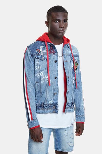 Hybrid jacket denim patch, stripes and hood