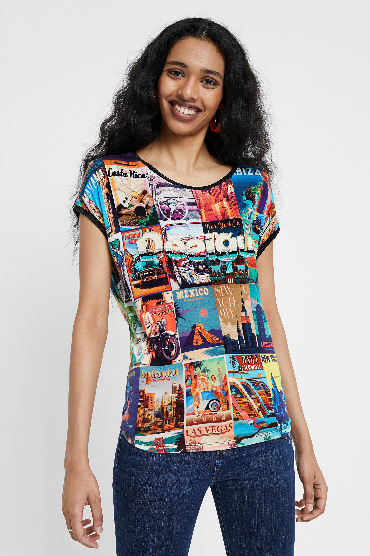 Loose post cards T-shirt   Desigual.com