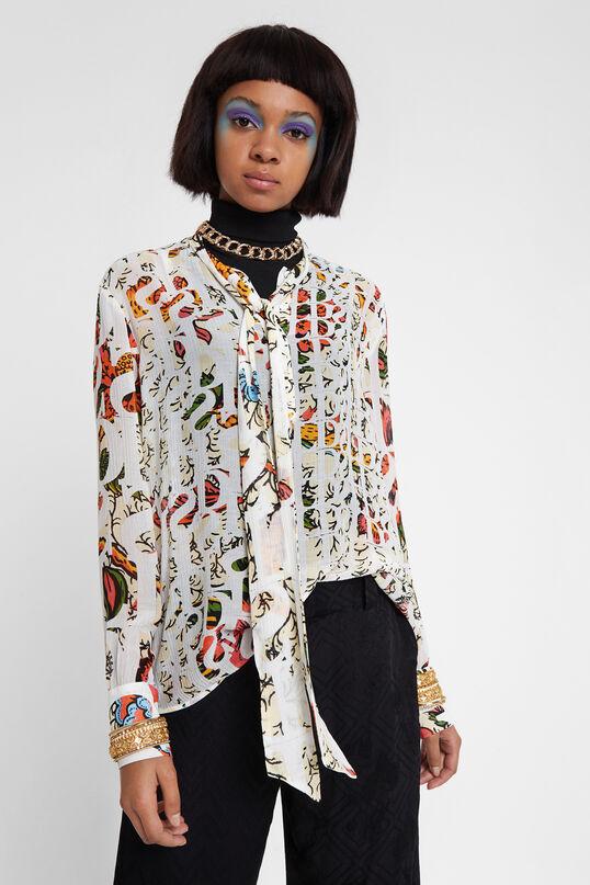 Blusa de viscosa y seda con lazada en el cuello Designed by M. Christian Lacroix | Desigual