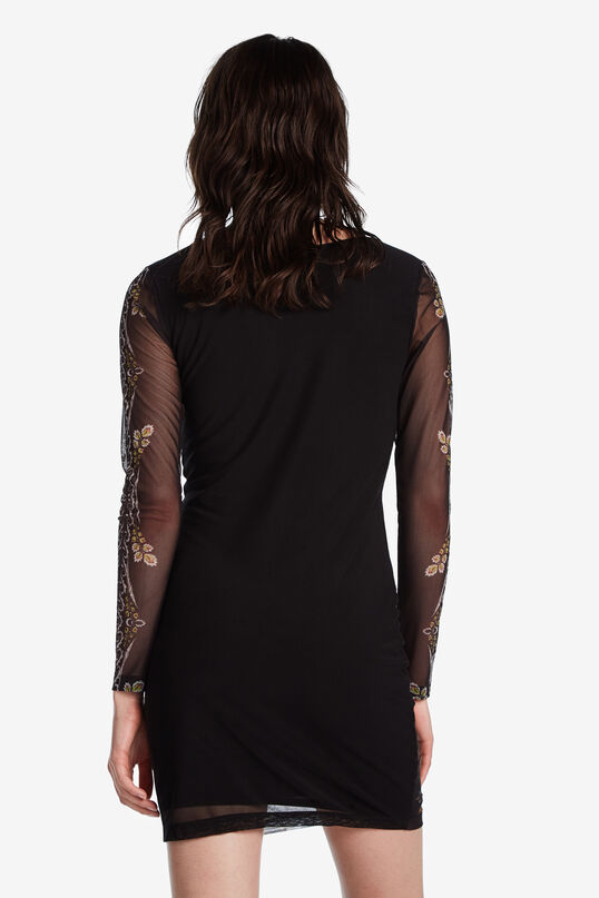 Short dress with sheer sleeves Designed by M. Christian Lacroix | Desigual