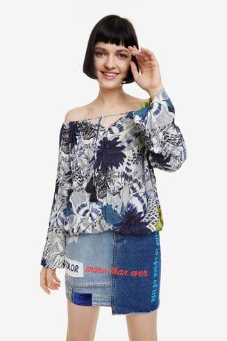 Blaue Bluse mit Blumen Amandine
