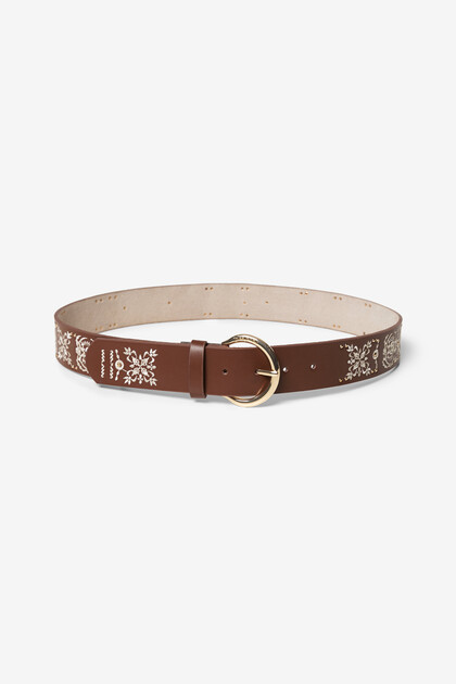 Floral and brown leather belt