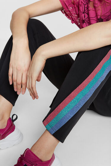 Long trousers with Lurex bands | Desigual