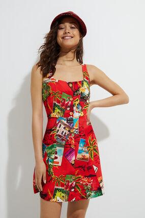 Short linen pinafore dress