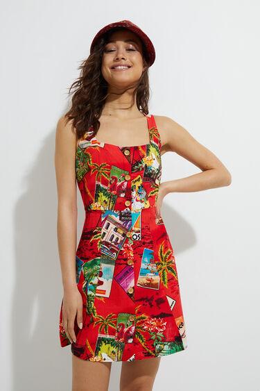 Kurzes Pichi-Kleid Leinen | Desigual