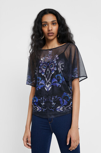 Double layer floral T-shirt