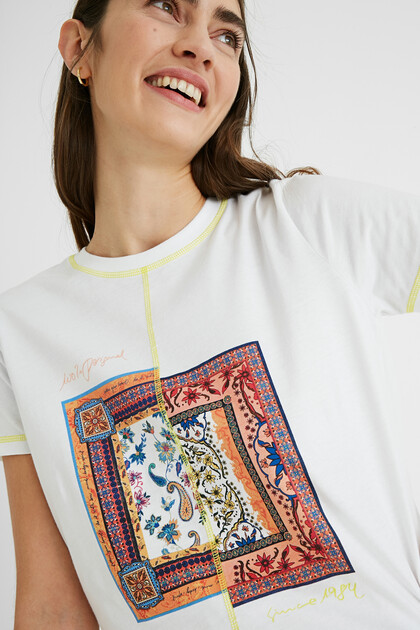 T-shirt patch paisley 100% cotton