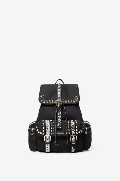 Stud backpack with slogan straps